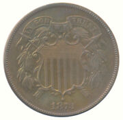 1873 Two Cent 2c Closed 3 Choice Proof Pr+ Condition United States Coin