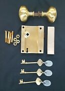 Complete Solid Brass Ship's Rim Lock Knobs Keeper And Keys