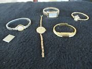 Vintage Antique Lot Of Gold Filled Ladies Watches Not Working Borel Wittnauer