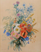 Adele Richandeacute French Botanical Art Drawing Watercolor Still Life Flowers Painting