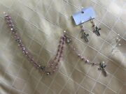 Jerusalem Rosary/ Earring Set Blessed Church Of Holy Sepulchre Pink