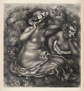 1919 Renoir Limited Nude Engraving Girls Seated Wearing Hats Signed Framed Coa