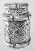 English Sterling Silver Repousse Tea Caddy Elaborately Decorated C.1897