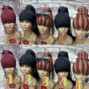 Handmade African Braided Ponytail Wigs Hand Tied No Closure No Frontal