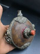 Ancient Very Old Wood Bottle With Vintage Silver And Tibeta Coral And Turquoise