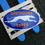 Greyhound Bus Lines Company Station - Gas And Oil Porcelain Enamel Sign / Shield