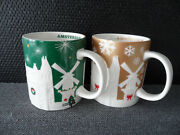 Lot Of 2 Pcs Starbucks Amsterdam Christmas City Icon Green And Gold Relief Mugs