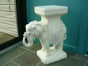 Vtg Large White Elephant Cement Plaster Plant Stand Seat End Table 1950and039s Rare