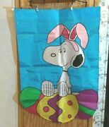 Peanuts Snoopy Easter Beagle Flag Snoopy Bunny Ears Easter Eggs Stitched 40 X 26