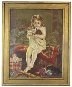 Antique Victorian Oil Portrait Painting Of A Young Girl With Cats Dogs 27