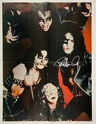 Kiss Fully Signed Autograph Poster Jsa Real Paul Stanley Gene Simmons Gema