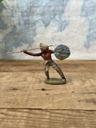 Vintage Elastolin Indian Hunting Fighting With Spear And Shield Wood 1900s
