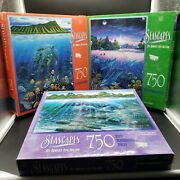 Lot Of Jigsaw Puzzle Mb 750pc Seascapes Agile Sea Phantom By Robert Nelson 1990s