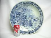 """15 ¾"""" Delfts Pottery Wall Plaque Charger Hunting Elk Hunt Boch Sphinx Plate Old"""