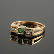 Solid 14k Gold Natural Emerald And Diamonds Wedding Engagement Boys Mens Ring
