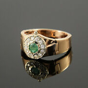 Solid 14k Gold Natural Emerald And Diamonds Partywear Engagement Boys Mens Ring