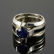 Solid 14k Gold Natural Blue Sapphire Partywear Engagement Boys Mens Ring