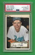 1952 Topps 1 Andy Pafko Psa Auth/altered Brooklyn Dodgers Old Baseball Card
