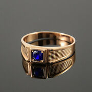 Solid 14k Gold Natural Blue Sapphire Wedding Band Engagement Boys Mens Ring