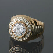 Solid 14k Gold Natural Diamonds Solitaire Wedding Engagement Boys Mens Ring