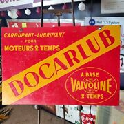 Antique French Valvoline Docarlub Oil Gas Sign Double Sided Dealer Sign