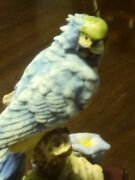 Large De Capoli Macaw Parrot Bird Figurine On A Branch Blue Green Yellow