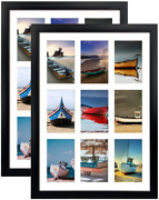 Horlimer 4x6 Picture Frames Collage With 9 Openings, Set Of 2, Black Multi Photo