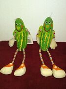 Vintage 1980 American Greetings Amtoy Super Pickle Plush Toy Rare 2 Pc Lot