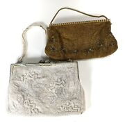 Lot 2 Antique Vintage Beaded Purses Bags Handbags For Parts Or Repair Sold As Is