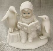 Snowbabies- Reading A Book With 2 Penguins Dept 56 Cute Inspiring New Readers