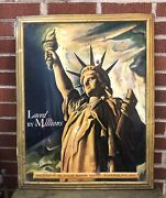 Vtg 1942 Schlitz Brewing Co Milwaukee Beer Sign Tin 28andrdquo Wwii Statue Of Liberty