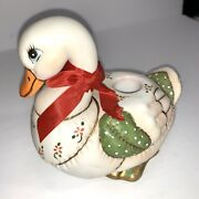 1987 Geo Z Lefton Patchwork Christmas Duck Goose Candle Holder Holly 06430