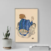 Egon Schiele - Seated Woman Back View 1917 - Painting Poster Art Print Gift