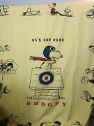 1968 Vintage Peanuts Snoopy Fabric He's Our Hero Bright Yellow 4.5 Yards