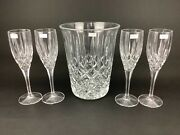 Royal Doulton Crystal Champagne Ice Bucket And Four 4 8 1/2 Flutes Glasses
