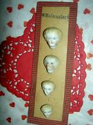 Set Of 4 Antique Parian Bisque, Dollhouse Size Doll Heads On Orig. Factory Card