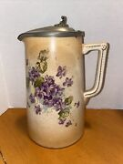 S.f. And Co England Porcelain Cream/water Pitcher Floral Sides And Pewter Lid - 7.5