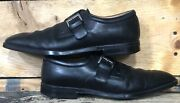 Moreschi Monk Strap Black Leather Shoes Loafers Mens Size 9 Us Made In Italy