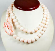 Angel Skin Coral Bead Necklace Dragon Pendant 173 Grams