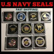 Us Navy Seals Challenge Coin Set-10 Lot All Us Navy Seal Teams W Cases