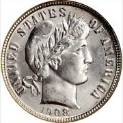 1908-s Barber Dime Ms65 Ngc
