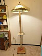 Vintage Style 2 Bulb Stained Glass Floor Lamp