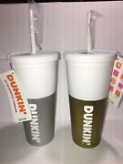 Dunkin Donuts Silver/gold 24oz Acrylic Soft Touch Tumbler Travel Mug Lot Of 2