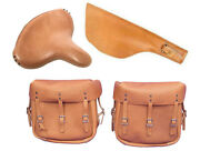 Tan Leather Saddlebags, Seat And Scabbard For Harley Ww2 Military Wla Wlc Bikes