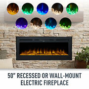 50 Electric Heater Recessed / Wall Mounted Fireplace Insert Remote Control