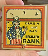Circa 1930s Bank Uncle Sam Dime A Day Dime Register Bank 2