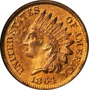 1864 Indian Cent. Bronze. Ms66 Rd Ngc