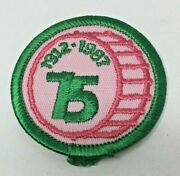 Patch Gsa Girl Scouts 75 Years 1912-1987 Pink Green Drum