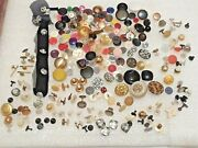Lot Of 250 Vintage Buttons. Metal, Plastic, No Sew, Rhinestone, Cloth Covered +