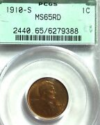 Wow__1910-s Pcgs Ms65 Rd Old Green Holder Lincoln Head Penny- See Rare Pennies